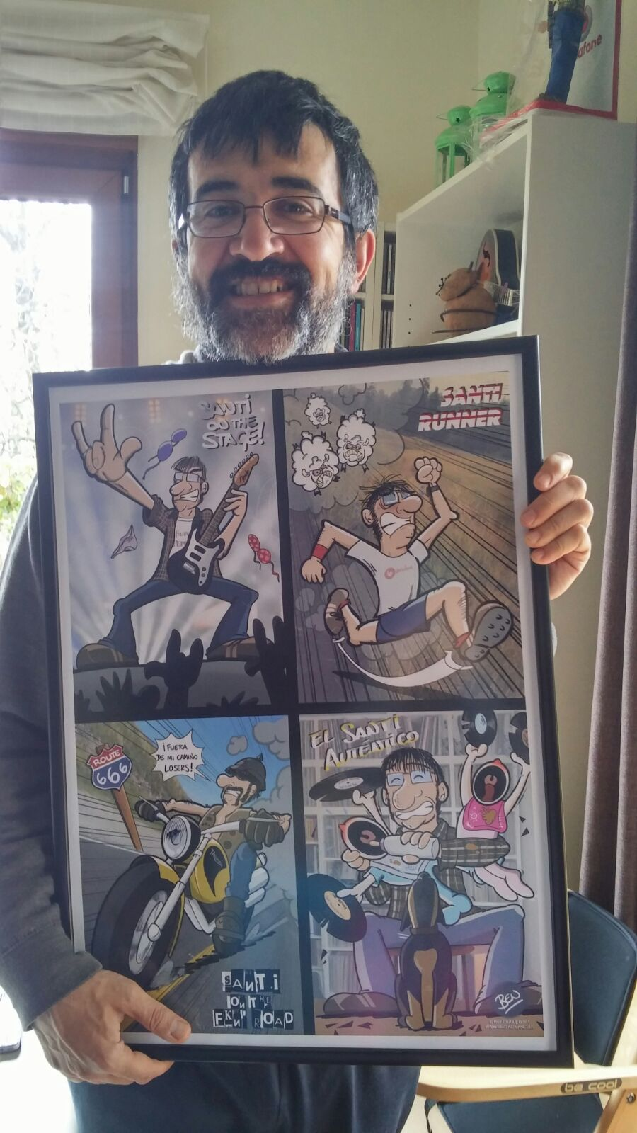 Caricatura personalizada - Las múltiples personalidades de Santi. Ese Santi todo contento!!!