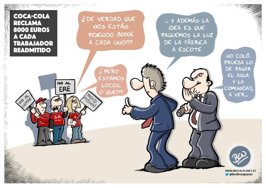 Coca-Cola reclama 8000 euros a cada trabajador readmitido
