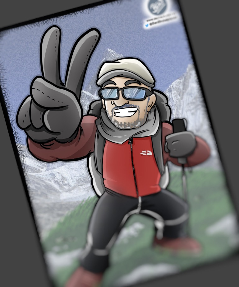 Caricatura personalizada tipo cómic - Montañeros y viñetas
