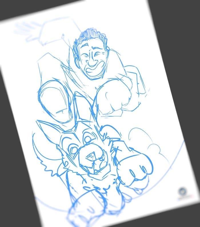 Caricatura Personalizada - Ángel y sus Perros protectores de víctimas de violencia de género - Lápiz
