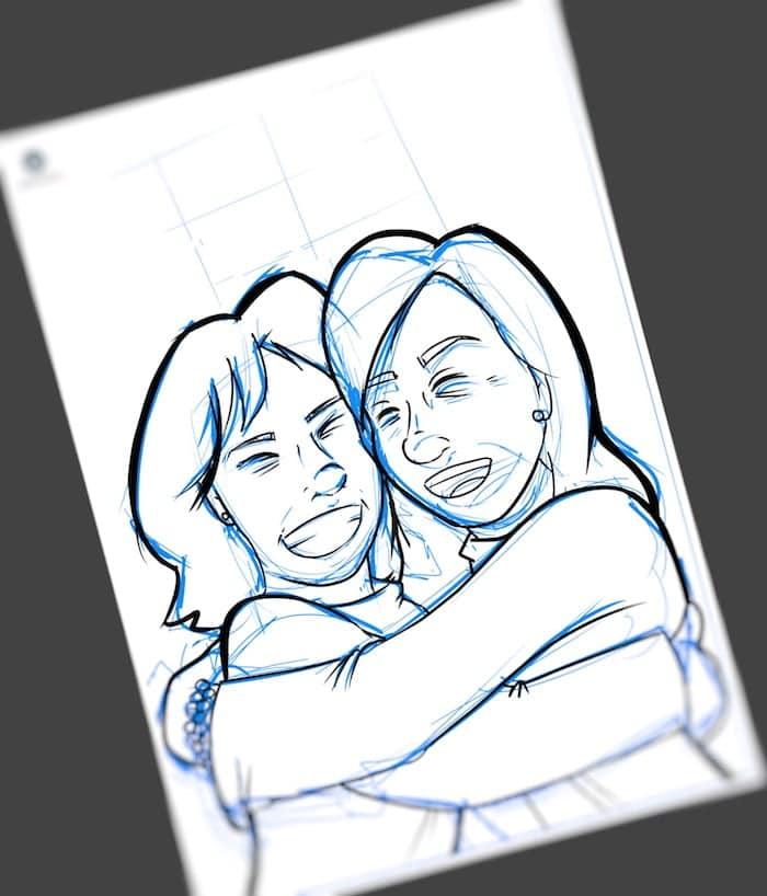 Caricatura Personalizada - Ana Garrido y Marián - Abrazo fraterno inmortalizado 2