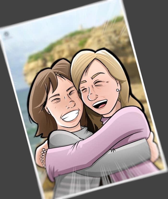 Caricatura Personalizada - Ana Garrido y Marián - Abrazo fraterno inmortalizado 3