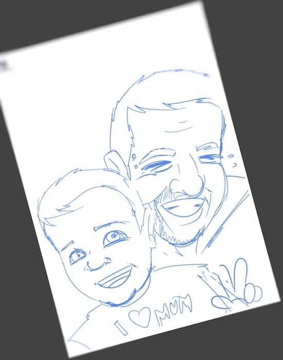 Ilustración Caricatura Personalizada - Padre e Hijo - tuvidaencomic.com