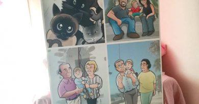 Caricatura Personalizada - Migue Vitoriano - Gatos y familia - tuvidaencomic.com