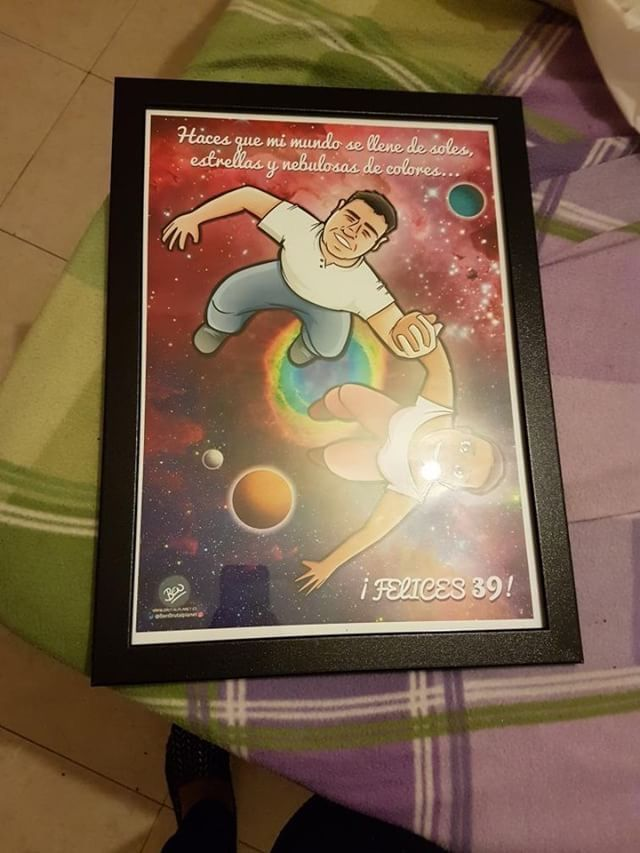Ilustración Caricatura Personalizada - Pareja - Flying to the Moon - Resultado Final 1
