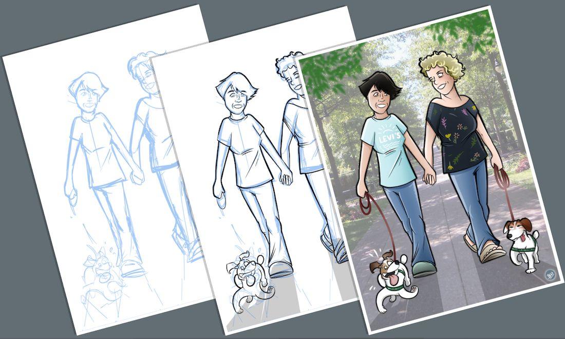 Caricatura - Ilustración Personalizada - Tu Vida en Cómic - tuvidaencomic.com - inmortalizando besos A