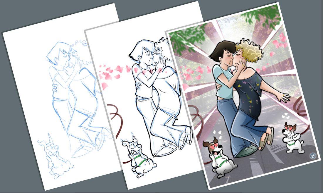 Caricatura - Ilustración Personalizada - Tu Vida en Cómic - tuvidaencomic.com - inmortalizando besos C
