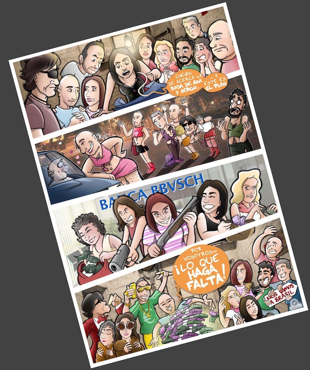 Ilustración - Cómic Personalizado - Caricaturas Personalizadas - Regalo de boda