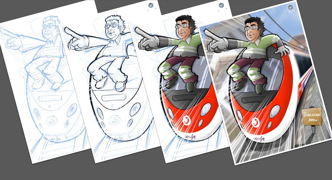 Ilustración Caricatura Personalizada - Jubilación y Trenes - A Proceso