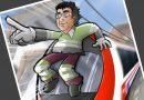 Ilustración Caricatura Personalizada - Jubilación y Trenes - A4