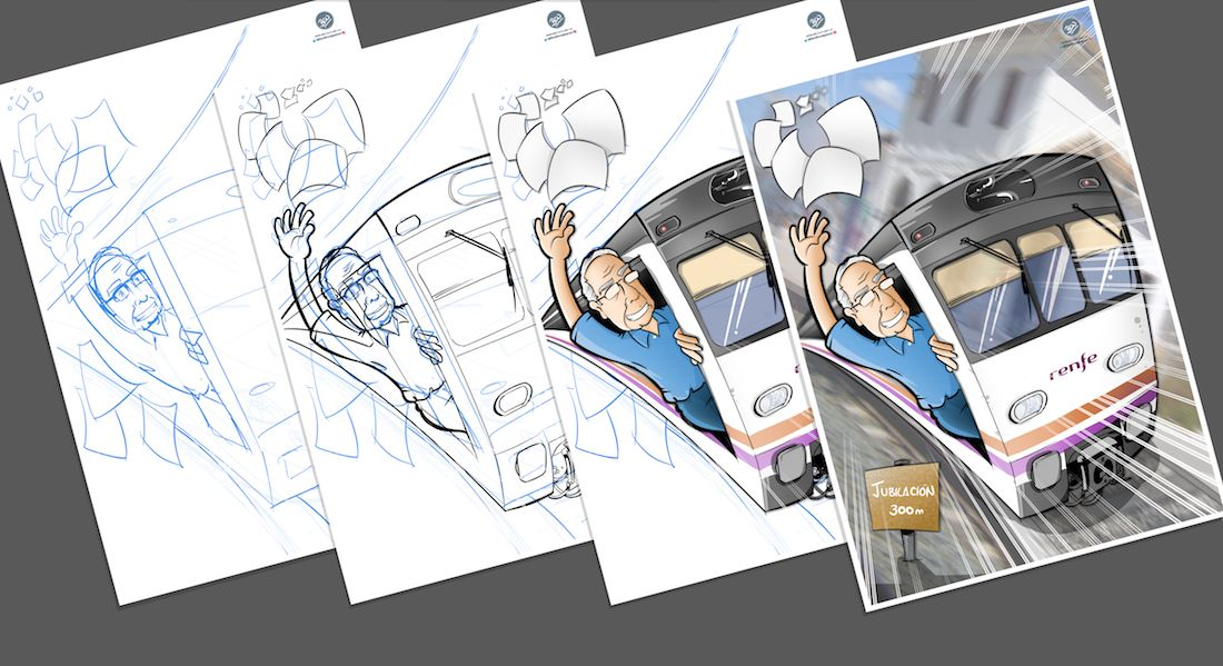 Ilustración Caricatura Personalizada - Jubilación y Trenes - B Proceso