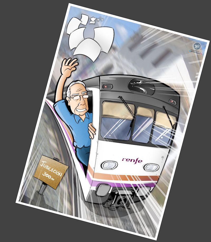 Ilustración Caricatura Personalizada - Jubilación y Trenes - B4 Invertido