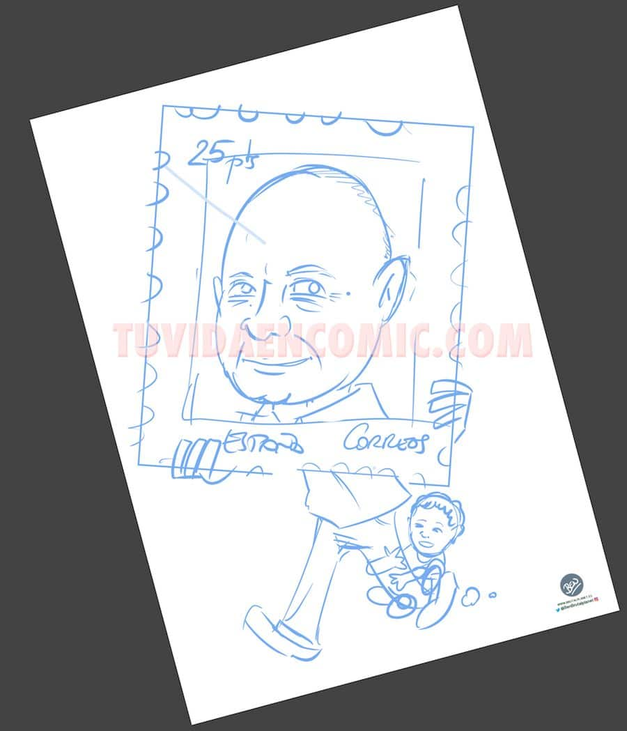 Caricatura Personalizada - sello personalizado - Regalo de Jubilación Correos - tuvidaencomic.com - BEN - 1