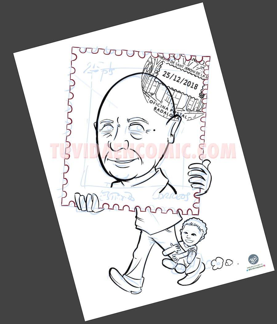 Caricatura Personalizada - sello personalizado - Regalo de Jubilación Correos - tuvidaencomic.com - BEN - 2