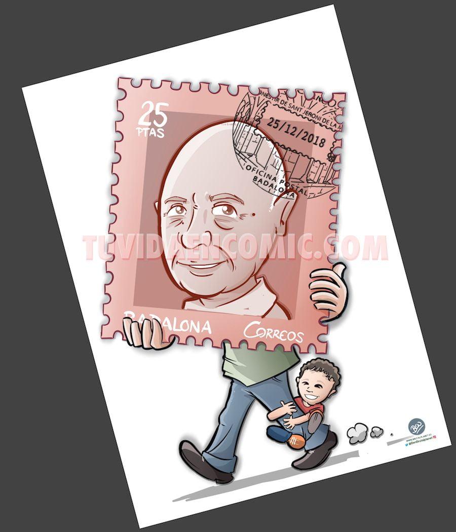 Caricatura Personalizada - sello personalizado - Regalo de Jubilación Correos - tuvidaencomic.com - BEN - 3