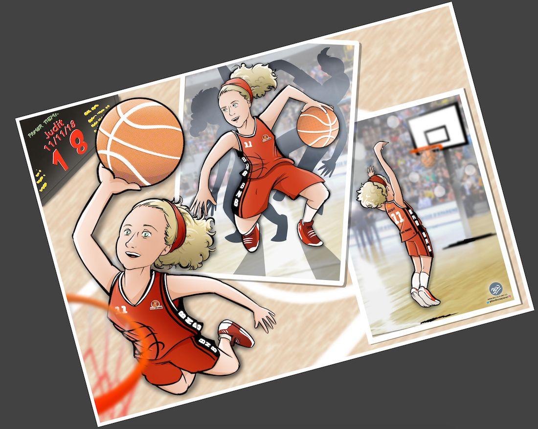 Ilustración - Caricatura Personalizada - Pasión por el baloncesto 1