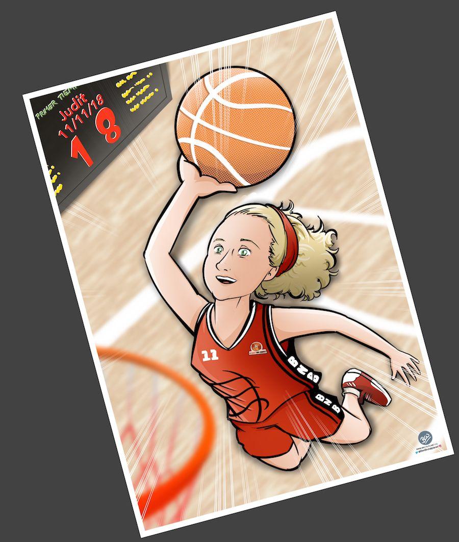 Ilustración - Caricatura Personalizada - Pasión por el baloncesto 2