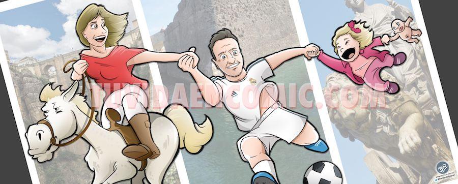 Ilustración Caricatura Personalizada - Malagueña + Ceutí = Madrileña - tuvidaencomic.com BEN 0