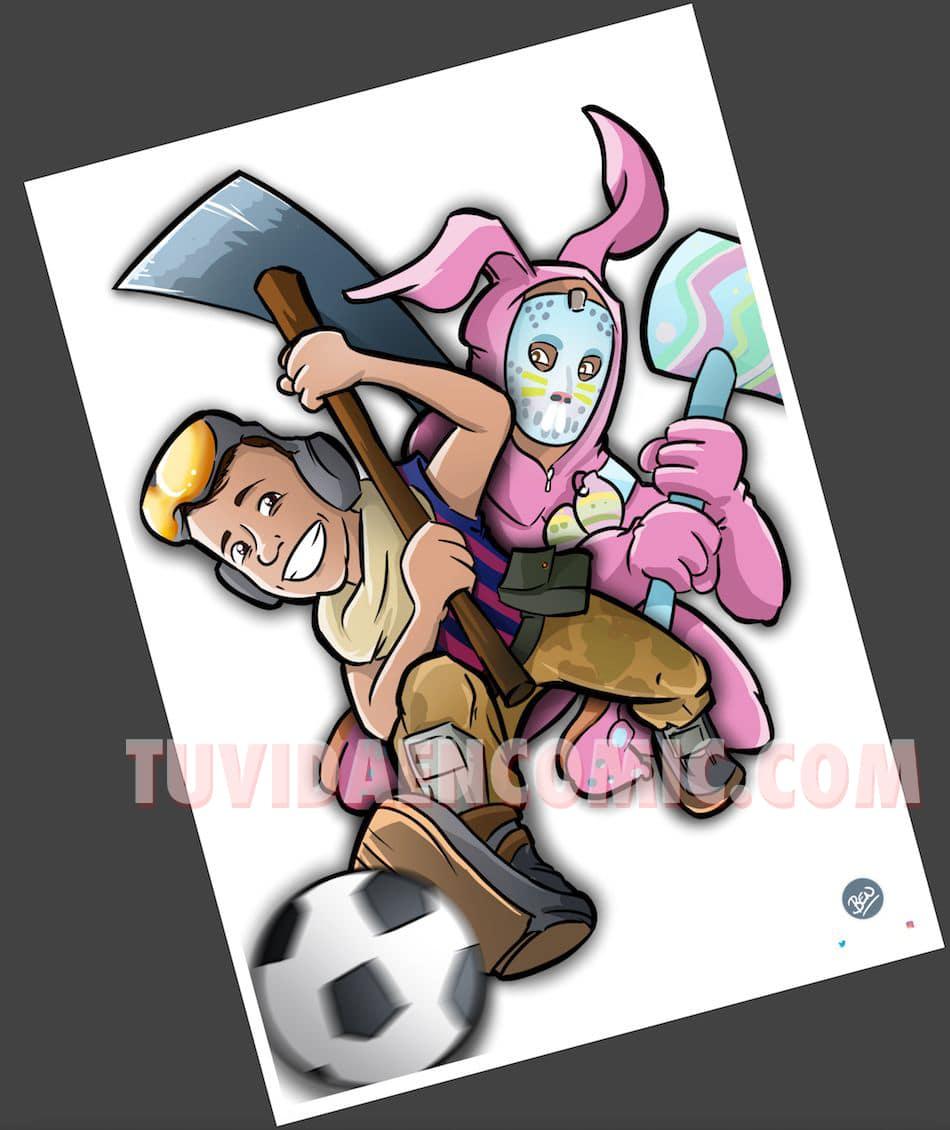 Ilustración Caricatura Personalizada - Tu Hijo y el Fortnite - tuvidaencomic.com - BEN - 3