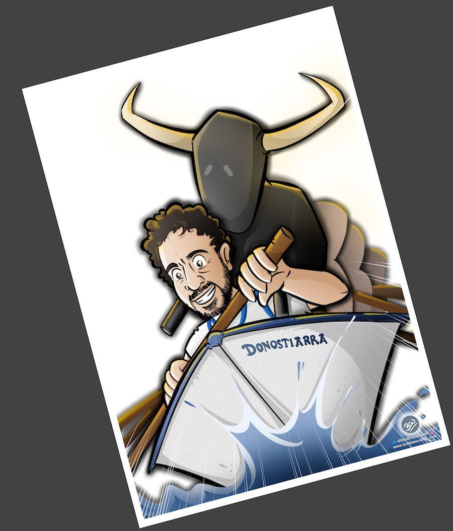 Caricatura Personalizada - Toros y traineras - Ilustración personalizada - tuvidaencomic.com - BEN - 3