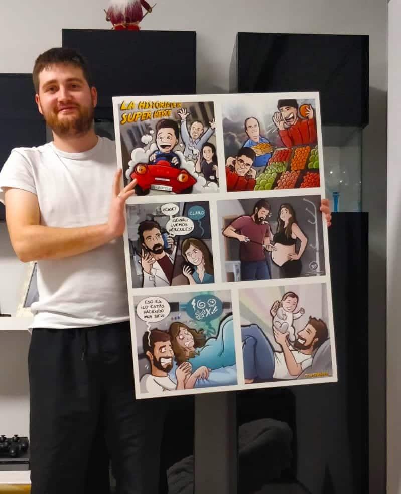 Composición Ilustración Personalizada - Historia del superhéroe de la familia - cómic personalizado - caricatura personalizada - tuvidaencomic.com - BEN - Testimonio