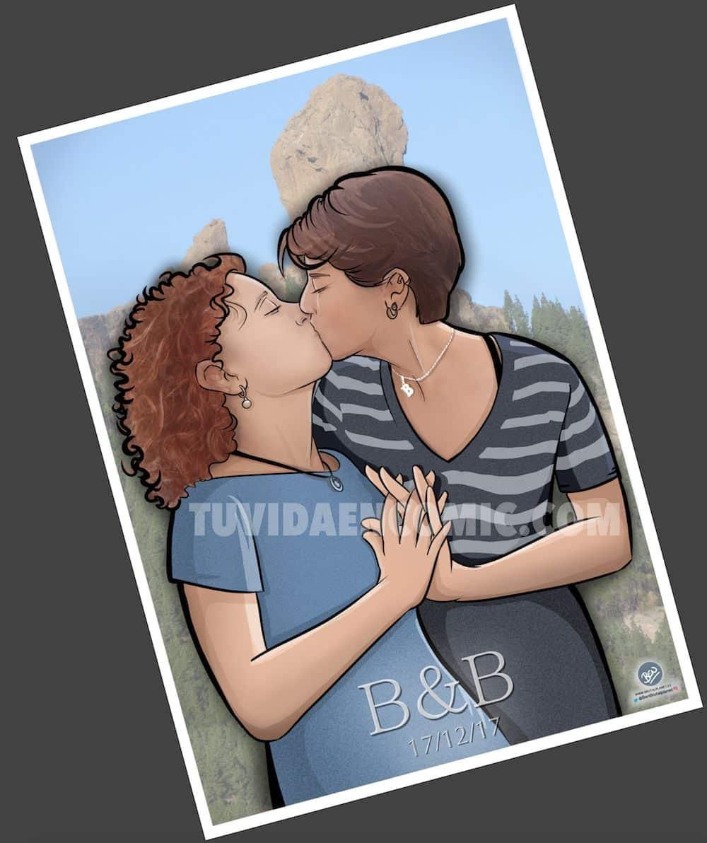 Foto Ilustración Caricatura Personalizada - Beso Inmortalizado - tuvidaencomic.com - BEN - 5
