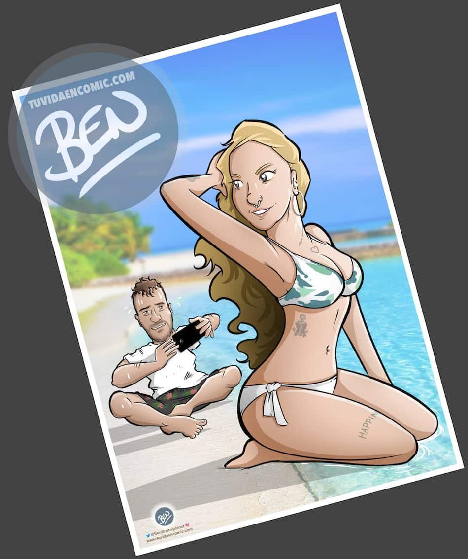 Ilustración Caricatura Personalizada - Regalo de Navidad recordando el verano - tuvidaencomic.com - BEN - 4