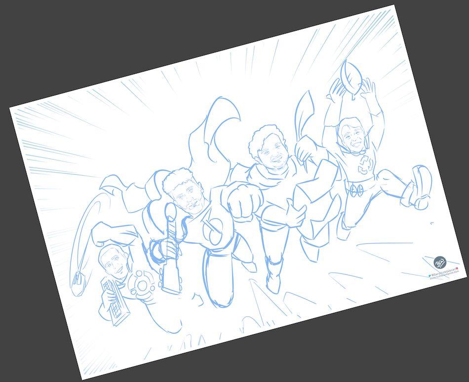Ilustración Personalizada - Amigos y Superhéroes - Caricatura Personalizada - tuvidaencomic.com - BEN - 1