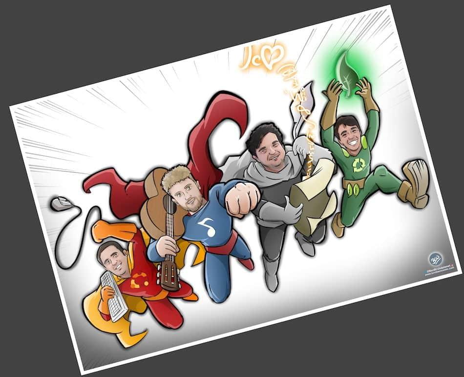 Ilustración Personalizada - Amigos y Superhéroes - Caricatura Personalizada - tuvidaencomic.com - BEN - 3
