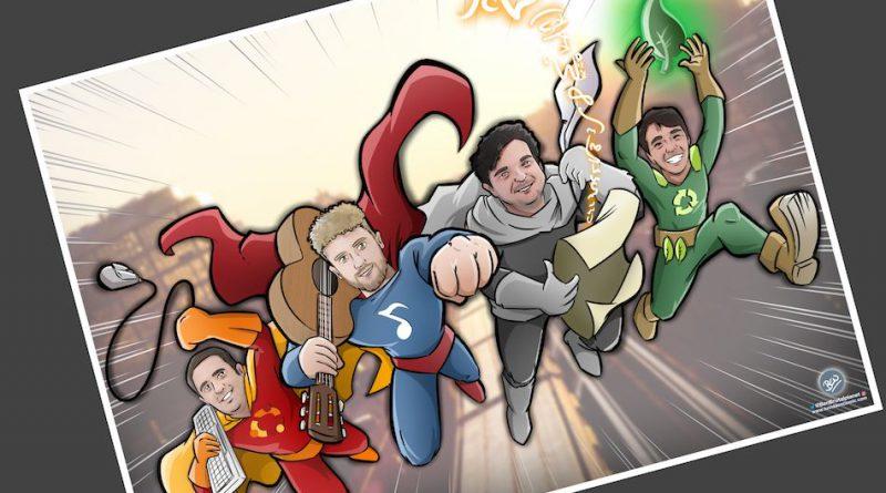 Ilustración Personalizada - Amigos y Superhéroes - Caricatura Personalizada - tuvidaencomic.com - BEN - 4