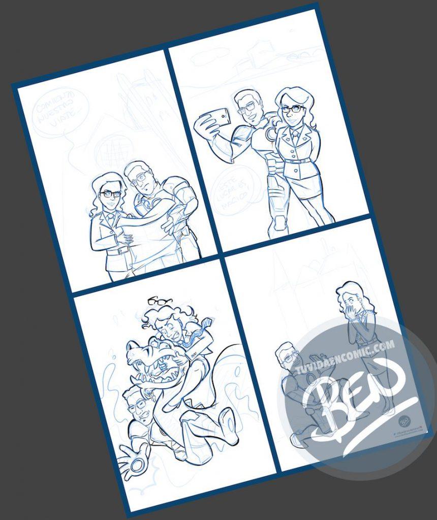 Composición de ilustraciones - Historia de amor en cuatro escenas - Ilustración - Caricatura personalizada - 2