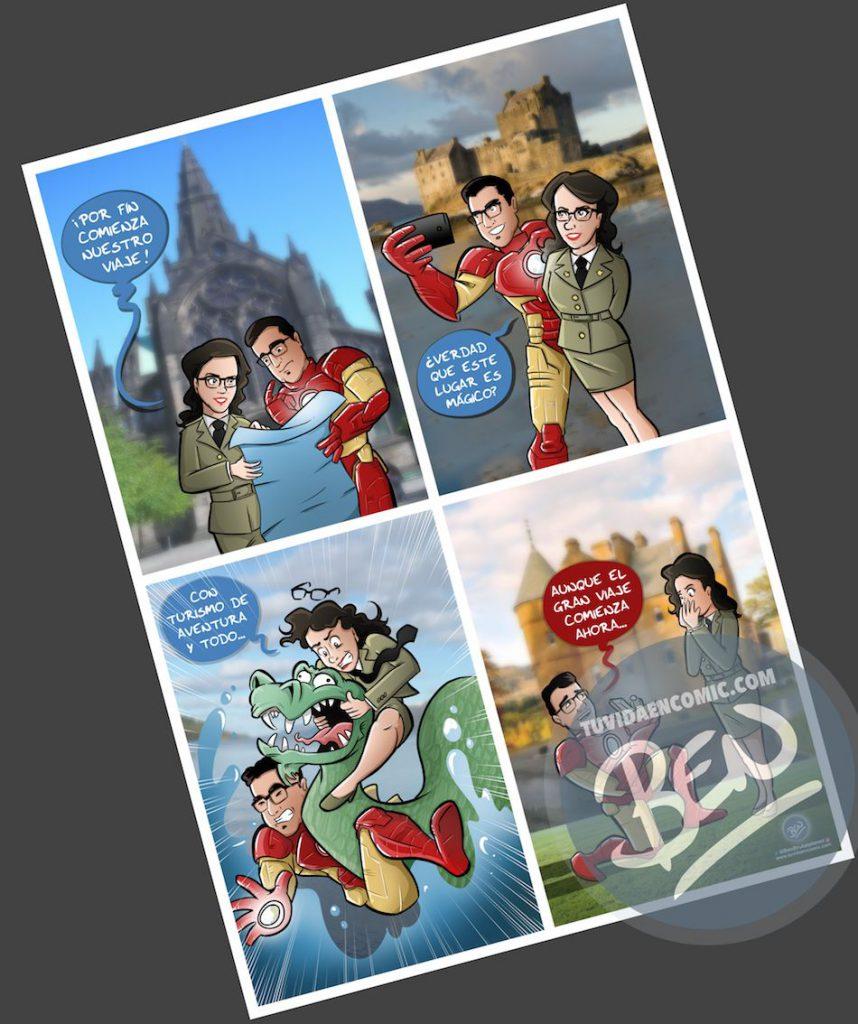 Composición de ilustraciones - Historia de amor en cuatro escenas - Ilustración - Caricatura personalizada - 4