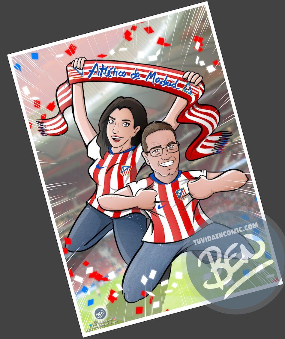 """Ilustración Personalizada - """"Padre, hija y mucho Atleti"""" - Caricatura Personalizada - tuvidaencomic.com - BEN - 4"""