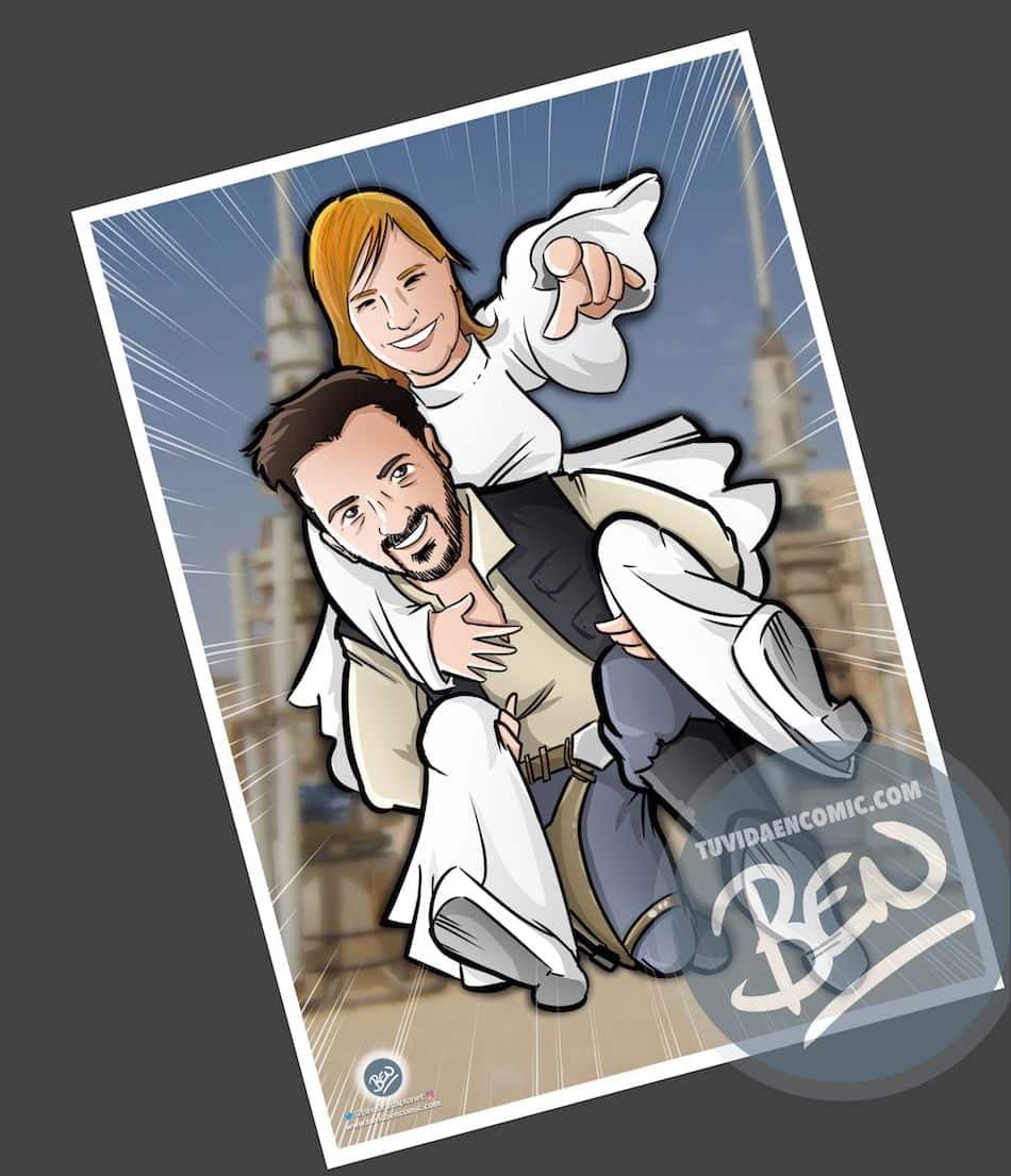 Ilustración personalizada - Las otras aventuras de Han Solo y Leia - Caricatura personalizada - BEN - tuvidaencomic.com - 4