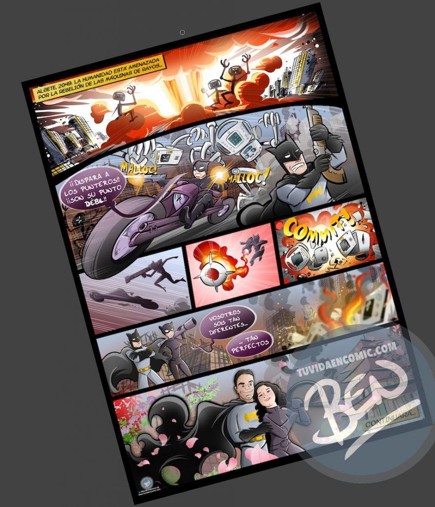 Cómic personalizado - Una historia de amor, superhéroes y máquinas de diagnóstico que toman conciencia de sí mismas - Ilustración - Caricatura personalizada - tuvidaencomic.com - BEN - 4