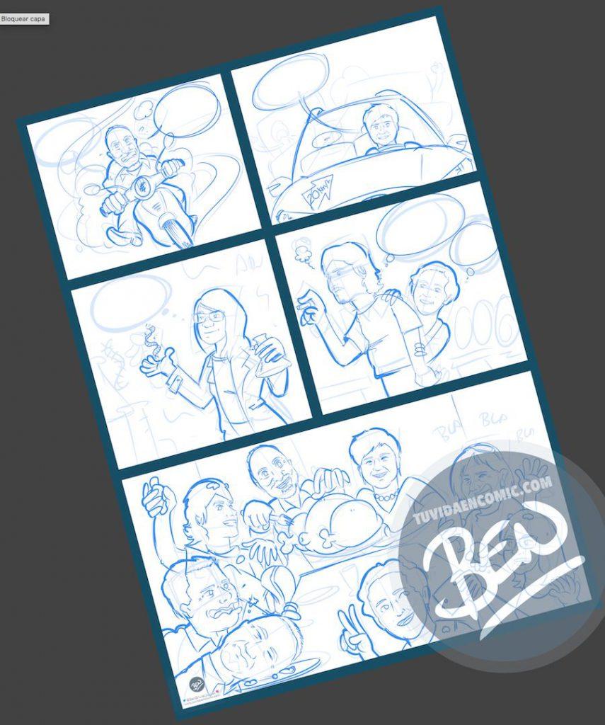 Cómic personalizado - Preparando la Cena de Navidad - Caricatura personalizada - tuvidaencomic.com - BEN - 1