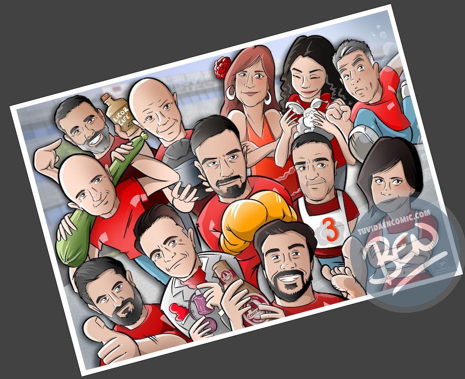 Ilustración grupal personalizada - Así da gusto madrugar - Caricatura Personalizada - tuvidaencomic.com - BEN - 4