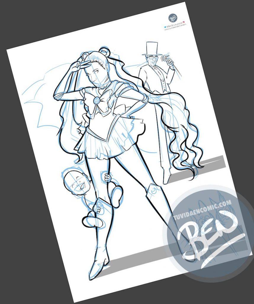Ilustración personalizada - Cuando tu pareja es toda una Sailor Moon - Caricatura Personalizada - tuvidaencomic.com - BEN - 2