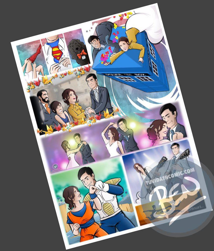 """Cómic personalizado - """"Coge la Tardis, que nos vamos de boda"""" - Ilustración - Caricatura personalizada - www.tuvidaencomic.com - BEN - 3"""