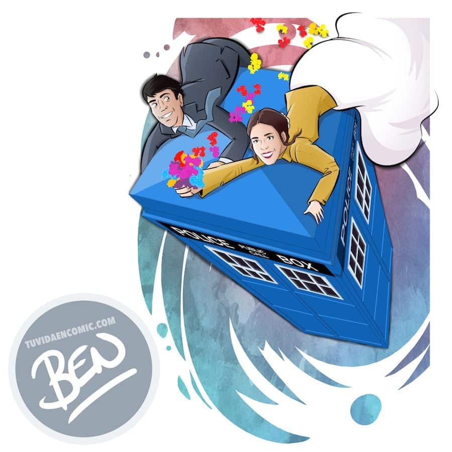 """Cómic personalizado - """"Coge la Tardis, que nos vamos de boda"""" - Ilustración - Caricatura personalizada - www.tuvidaencomic.com - BEN - 4"""