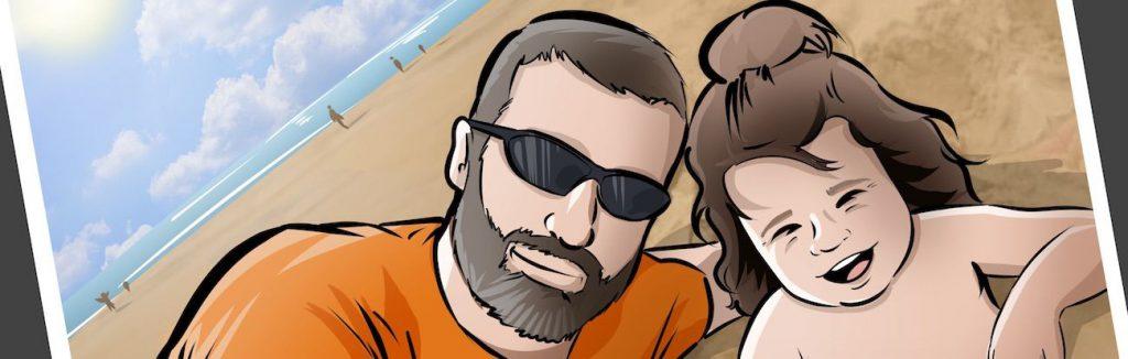 """Composición de ilustraciones - """"Momentos de padre e hija"""" - Regalo por el día del padre - Ilustración - Caricatura personalizada - tuvidaencomic.com - BEN - 0"""