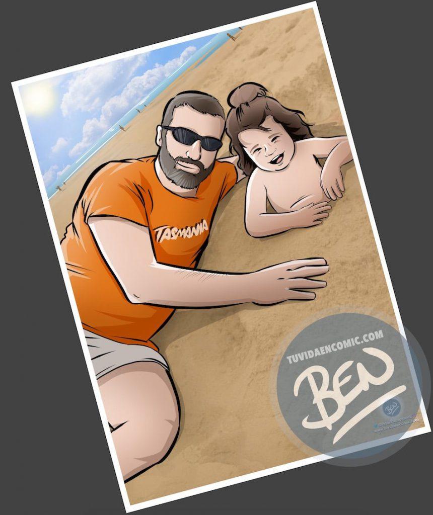"""Composición de ilustraciones - """"Momentos de padre e hija"""" - Regalo por el día del padre - Ilustración - Caricatura personalizada - tuvidaencomic.com - BEN - 1"""