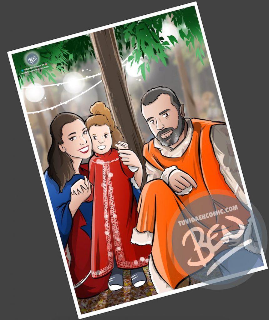 """Composición de ilustraciones - """"Momentos de padre e hija"""" - Regalo por el día del padre - Ilustración - Caricatura personalizada - tuvidaencomic.com - BEN - 3"""