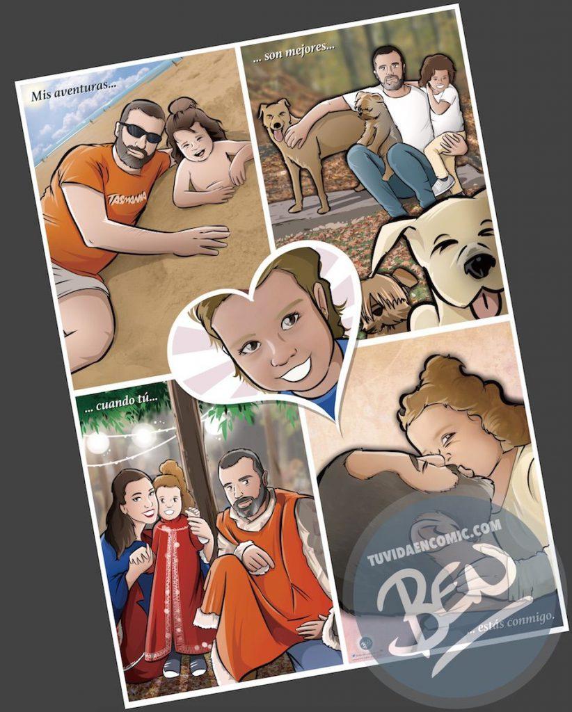 """Composición de ilustraciones - """"Momentos de padre e hija"""" - Regalo por el día del padre - Ilustración - Caricatura personalizada - tuvidaencomic.com - BEN - 5"""