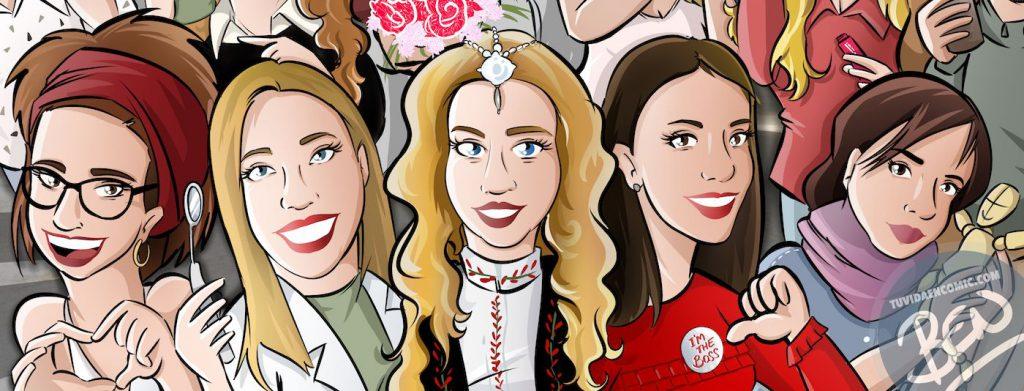 Ilustración grupal personalizada - Todos tus amigos colgados en la pared - Caricatura de grupo Personalizada - 1