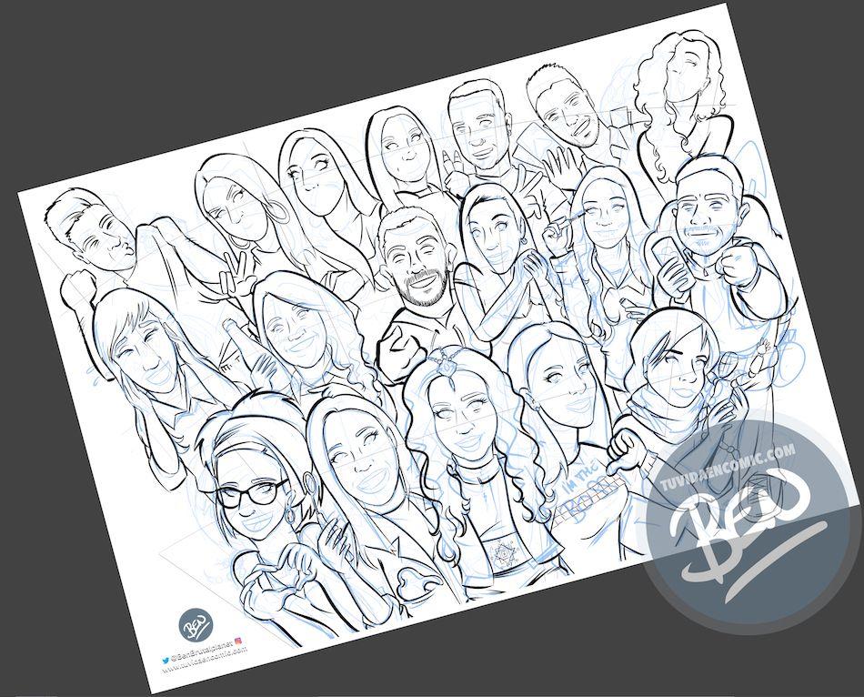 Ilustración grupal personalizada - Todos tus amigos colgados en la pared - Caricatura de grupo Personalizada - 2