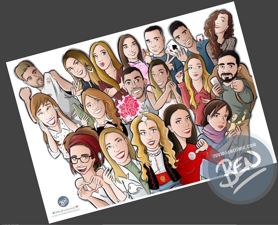 Ilustración grupal personalizada - Todos tus amigos colgados en la pared - Caricatura de grupo Personalizada - 3