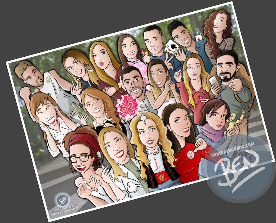 Ilustración grupal personalizada - Todos tus amigos colgados en la pared - Caricatura de grupo Personalizada - 4