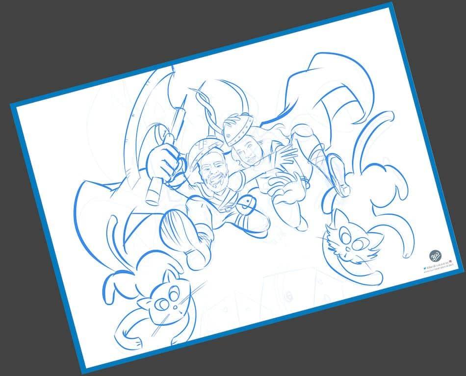 Ilustración personalizada - Un tapete personalizado para tus juegos de mesa - Caricatura Personalizada - www.tuvidaencomic.com - BEN - 1