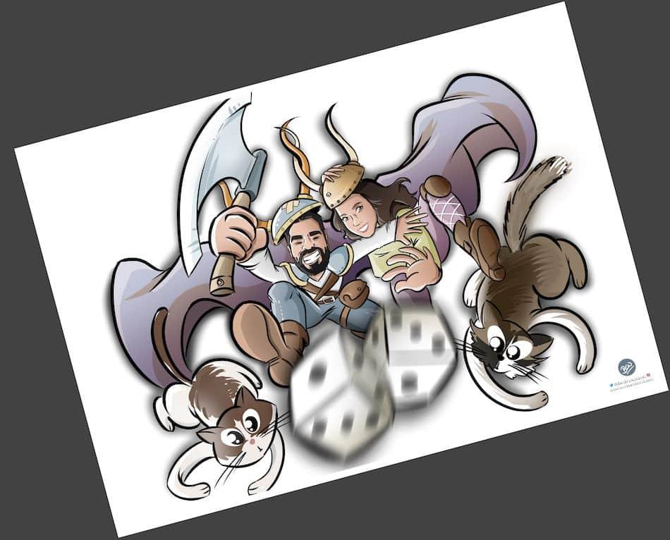 Ilustración personalizada - Un tapete personalizado para tus juegos de mesa - Caricatura Personalizada - www.tuvidaencomic.com - BEN - 3